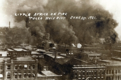 Looking northeast from downtown during Tulsa Race Massacre, June 1, 1921