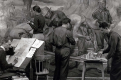 f Edward Laning & assistants working on mural, 1938