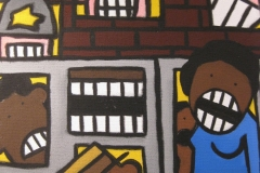 Close-up of one of artist Eric Humphries pieces on the Tulsa Race Riot