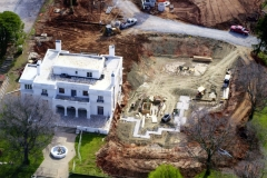 Aerial view of mansion before addition