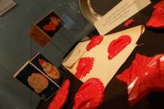 Collection of Aunt Chick cookie cutters in exhibit