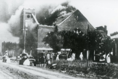 Mt. Zion Baptist Church on fire during the 1921 Tulsa Race Riot/Massacre.