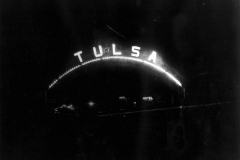 Tulsa Welcome Arch on Main Street near the railroad tracks, c 1910. (1979.007.010)