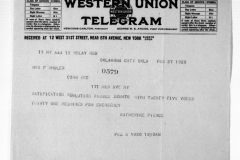 Telegram reporting news of legislature vote in Oklahoma, 1920