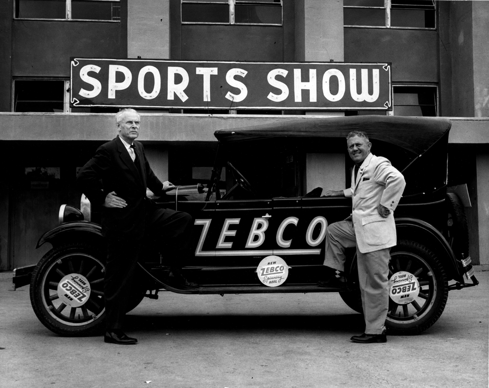 Early day salesmans with Zebco car.